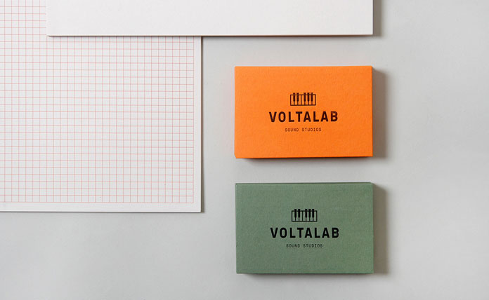 Business cards in two colors.