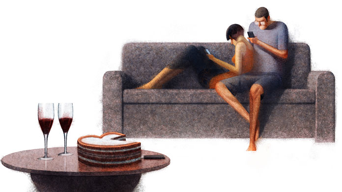 Couples and Cell Phones – character design by Sukanto Debnath.