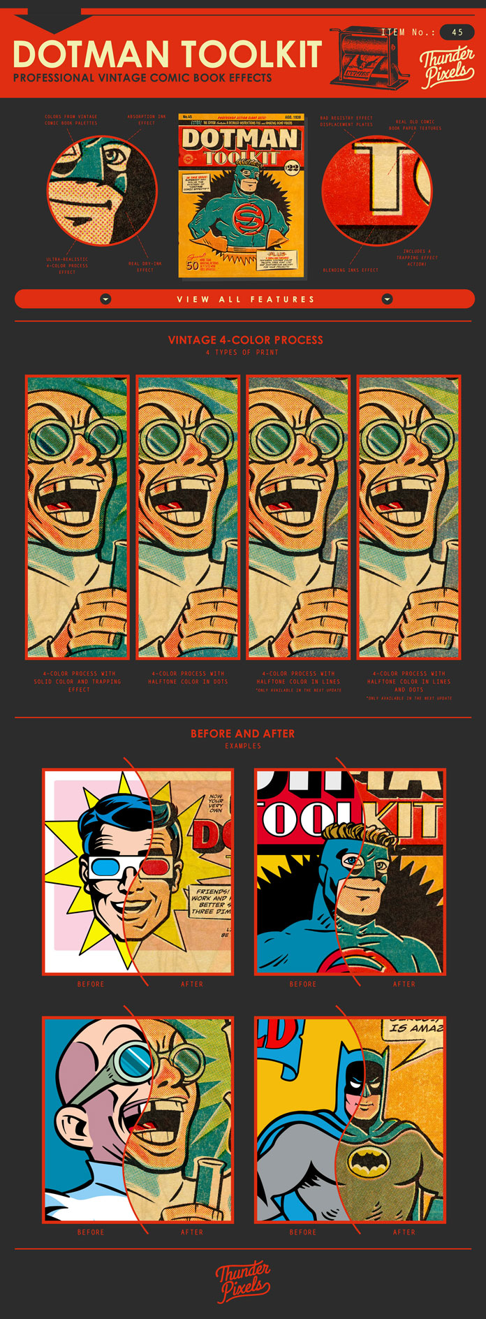 Create stylish retro effects for comics, illustrations and other vintage inspired designs.