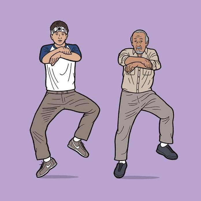 Karate Kid and Mr. Miyagi performing the Gangnam Style.