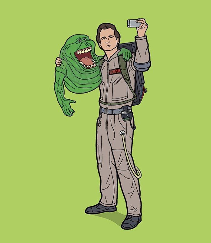 Peter Venkman and Slimer of the Ghostbusters taking a selfie.