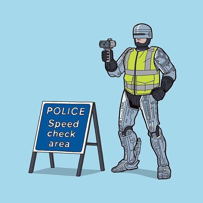 RoboCop – Police speed check area.