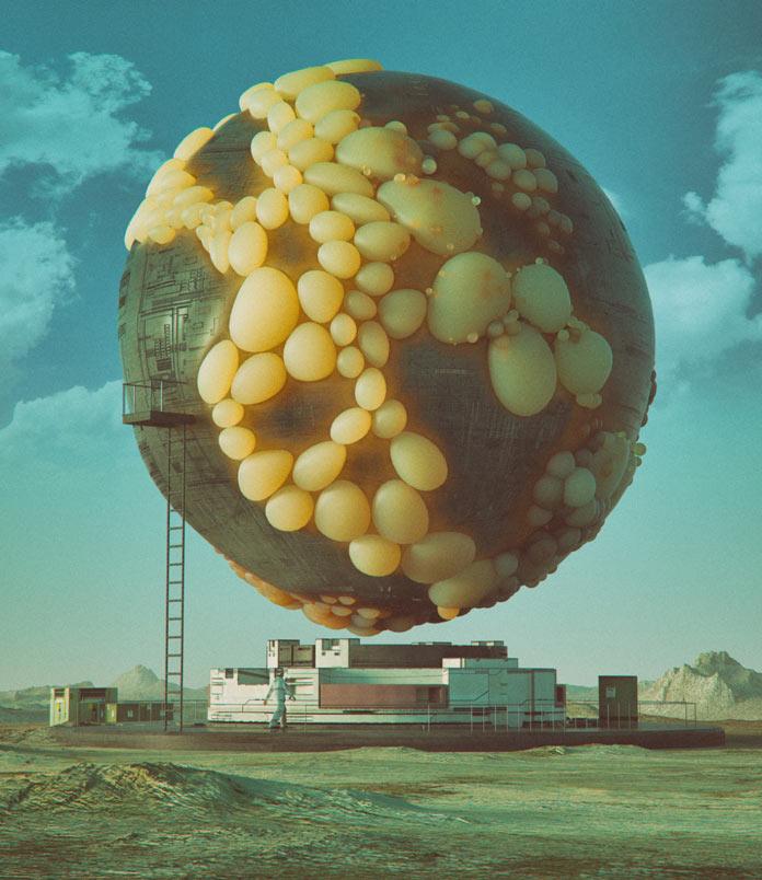 Sci-fi inspired digital artwork with Cinema 4D.