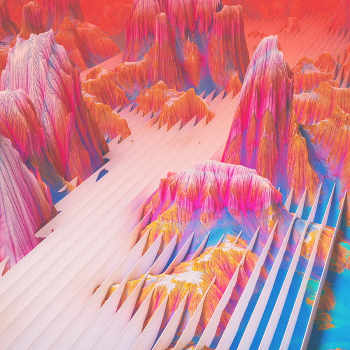 Surreal and colorful landscape 3D modeling.