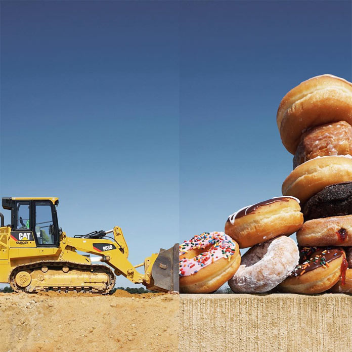 Front loader and donuts.