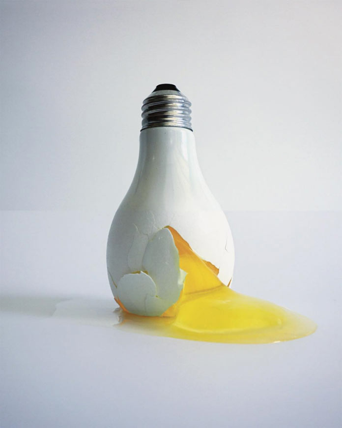 Light bulb and egg – photo collage by Stephen McMennamy.