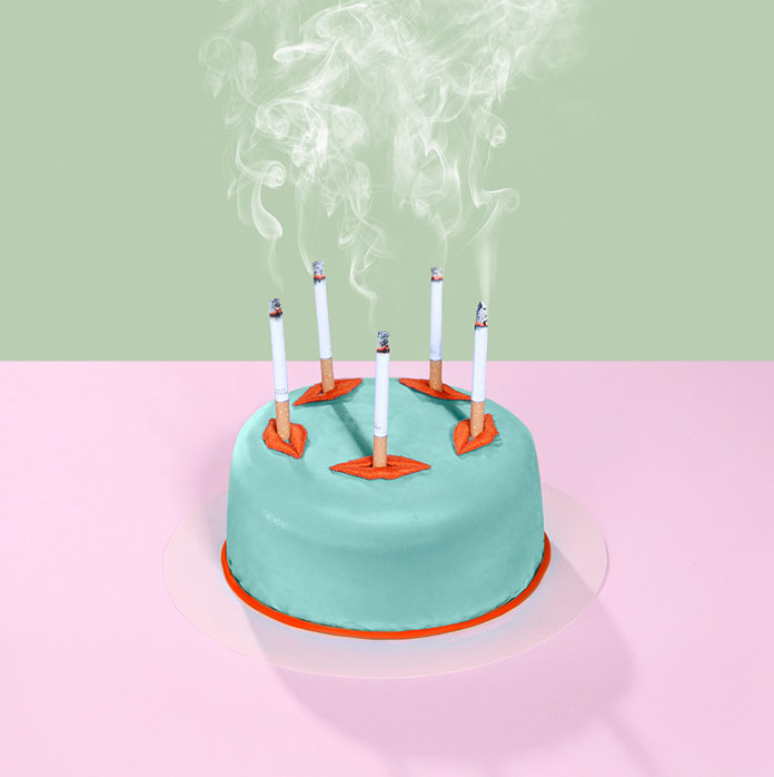 Smoking birthday cake.