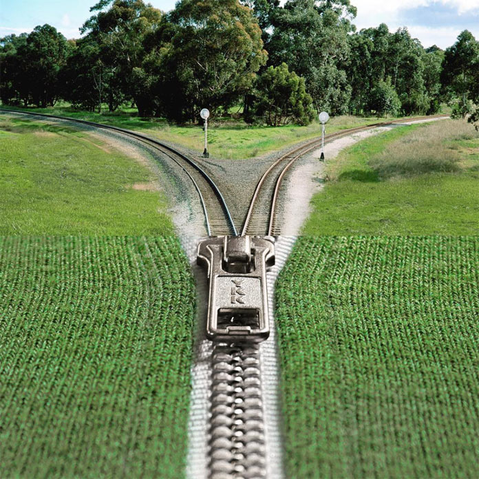 Train tracks and zipper – montage of two images by Stephen McMennamy.