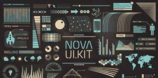 Nova UI – retro-futuristic user interface elements.