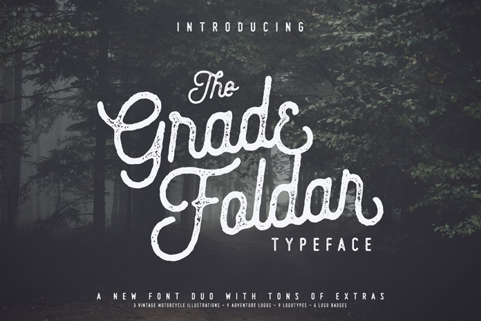 The Gradefoldar vintage typeface.