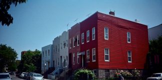 Houses in America's national colors.