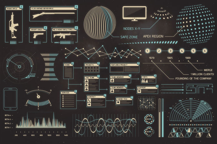 Charts, graphs, flowcharts, maps, wireframes, elements, weapons, controls, etc.
