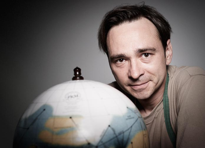 Michael Plichta and his mars globe.