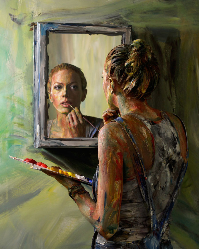Alexa Meade – Portrait 1 – The Untitled Space – Self Reflection exhibit