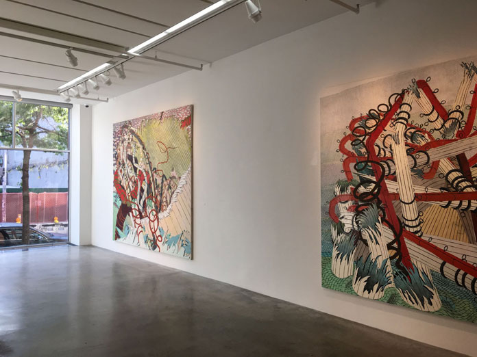Exhibition view with paintings by Brooklyn based artist Andy Piedilato at Danese/Corey.