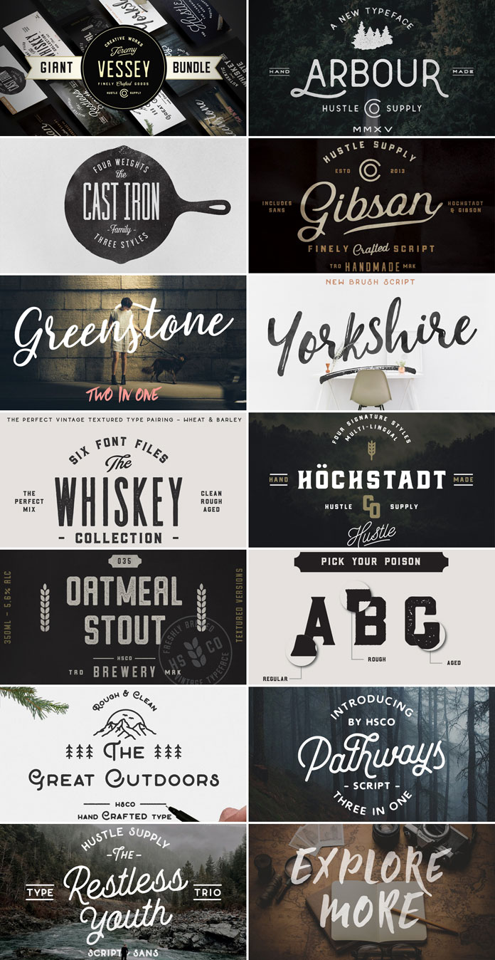 Giant font bundle from Hustle Supply Co.