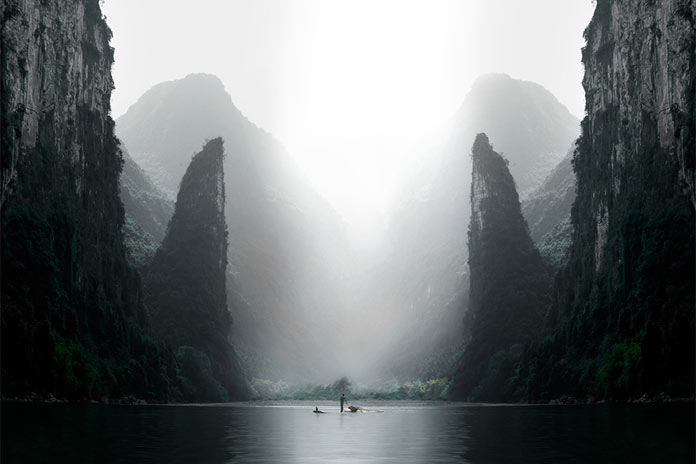 Surreal landscapes made through retouching and reflection.