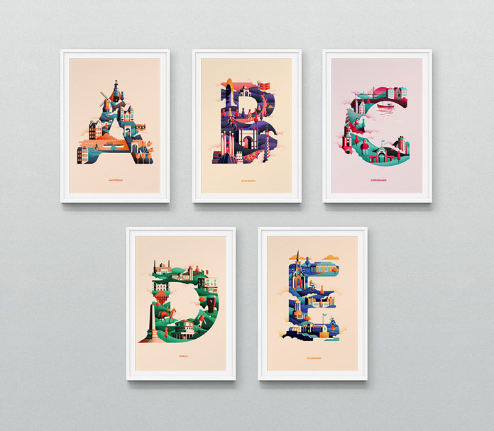 Wanderlust Alphabet A – E by Jack Daly.