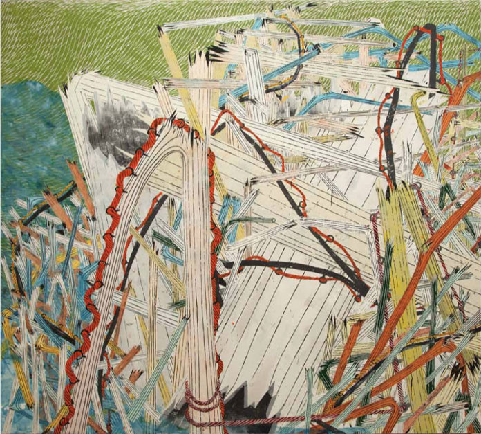 Large, imposing paintings by Andy Piedilato.
