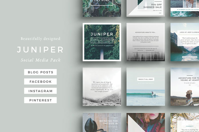 Juniper – social media pack templates for blog posts, Facebook, Instagram, and Pinterest.
