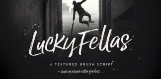 Lucky Fellas, a textured brush script by Nicky Laatz.