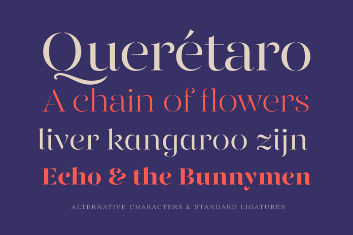Alternative characters and standard ligatures.