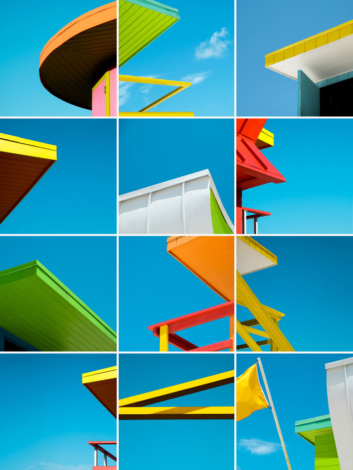 Minimalist snapshots of Miami's colorful rescue towers shot by Paolo Pettigiani.