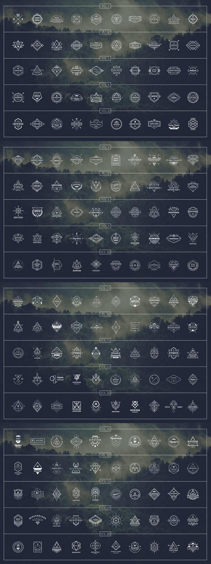 200 hipster logos.
