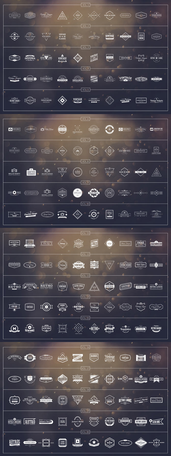 200 retro logos.
