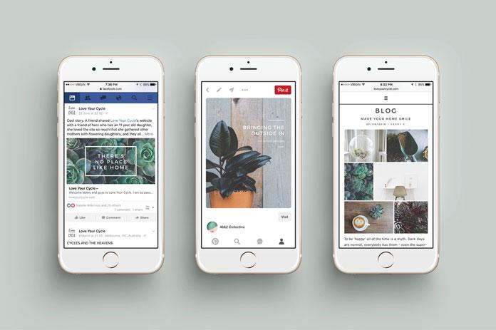 Facebook, Pinterest, blog posts.