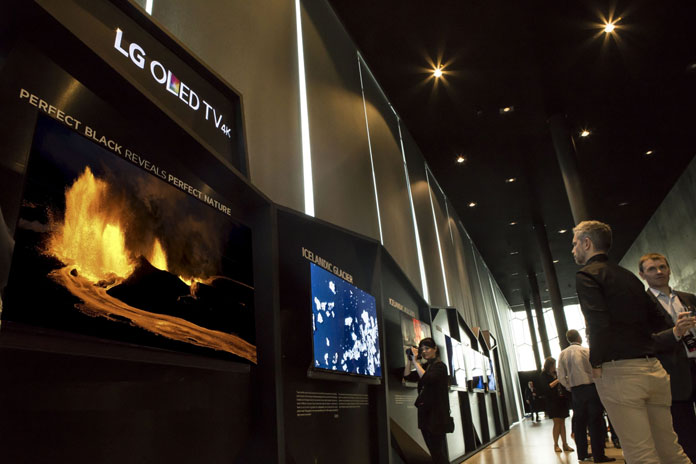 LG OLED TV Gallery in Harpa concert hall.