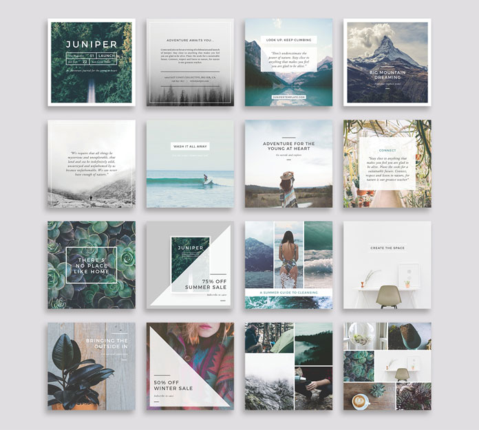 Square templates optimized for Facebook and Instagram.