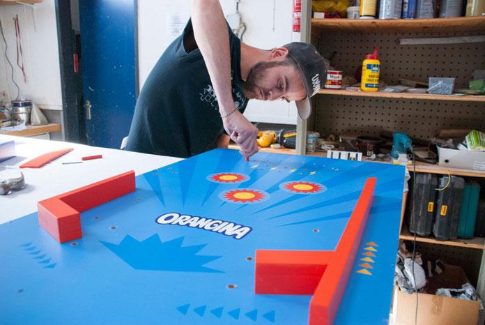 Handmade creation of the pinball machine.
