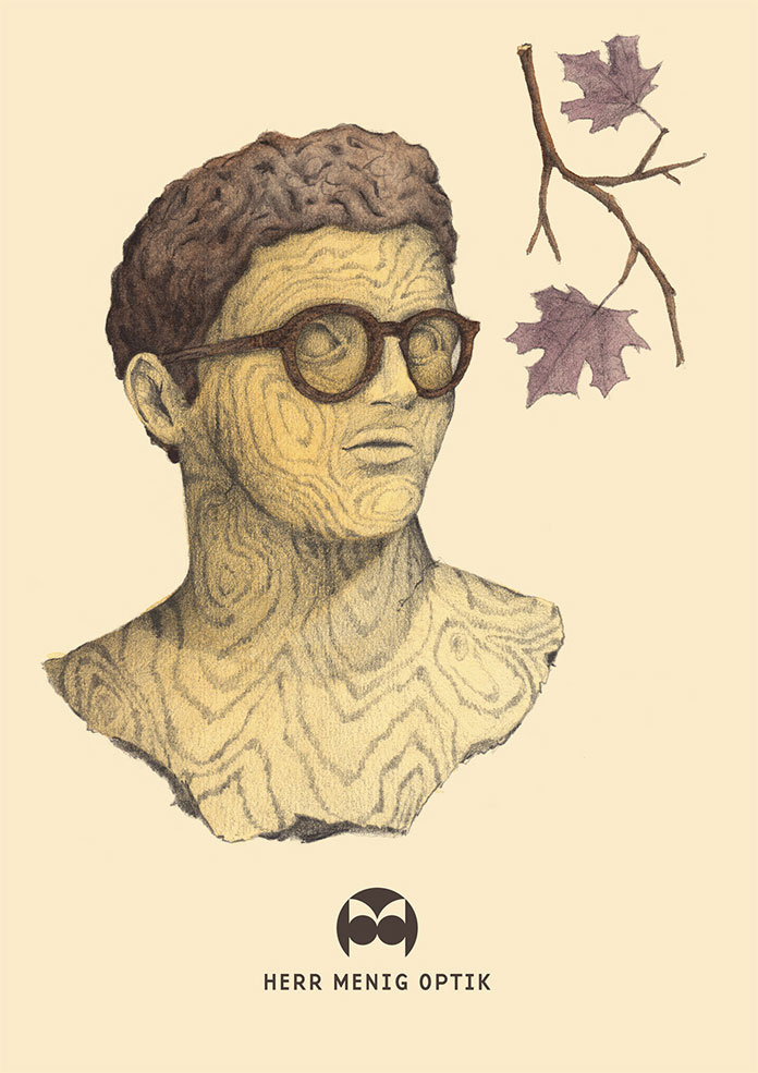 Illustration for wooden glasses during fall.