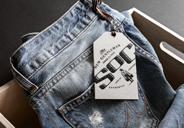 Jeans with hang tag.