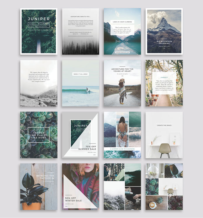 Vertical templates optimized for blogs and Pinterest.