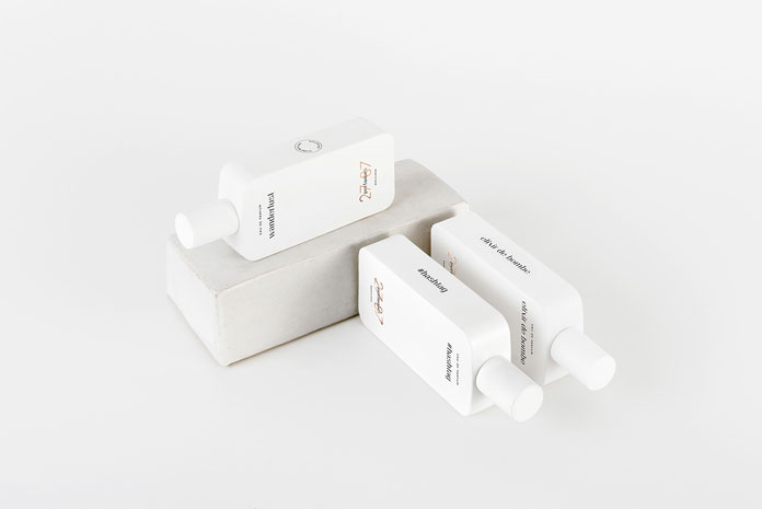 White perfume packaging.