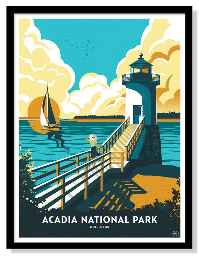 Acadia National Park – Six color screen printed poster by Telegramme Paper Co.