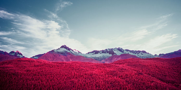 Aerochrome infrared image – Red Mountain.