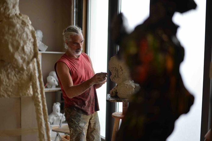 Artist Johan Van Mullem in his studio, 2016