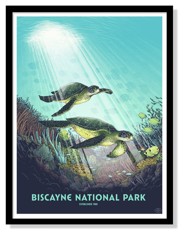 Biscayne National Park – Silk screen print by Justin Santora.