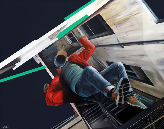 CHUTE LIBRE – painting by John Kviar.
