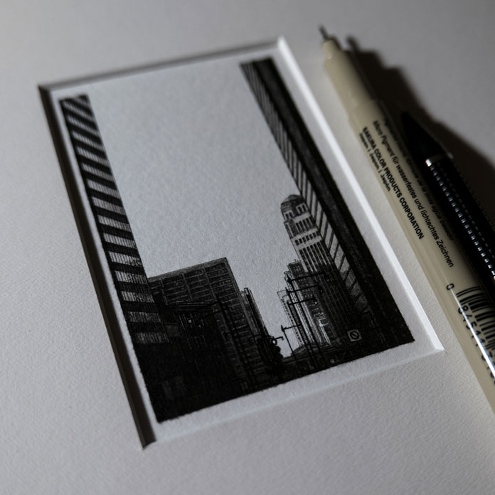 City illustration in a very small format.