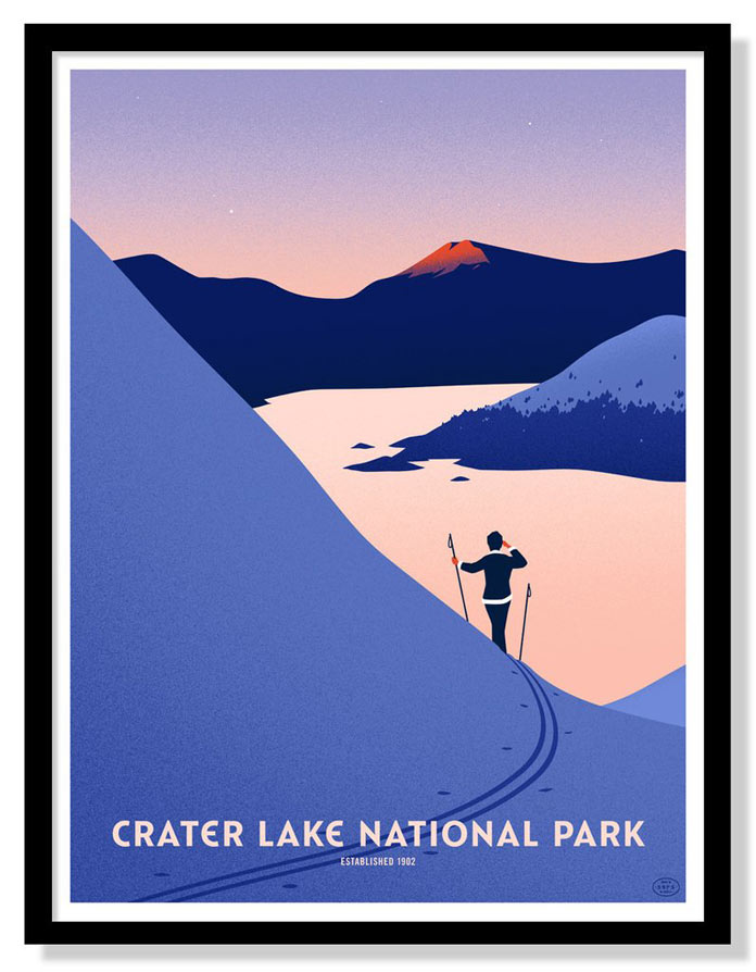 Crater Lake National Park – 10 color screen printed poster by Thomas Danthony.