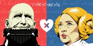 Donald Trump and Clinton Hillary Clinton – I Love to Hate You illustrations by Butcher Billy