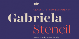 Gabriela Stencil font family from Latinotype