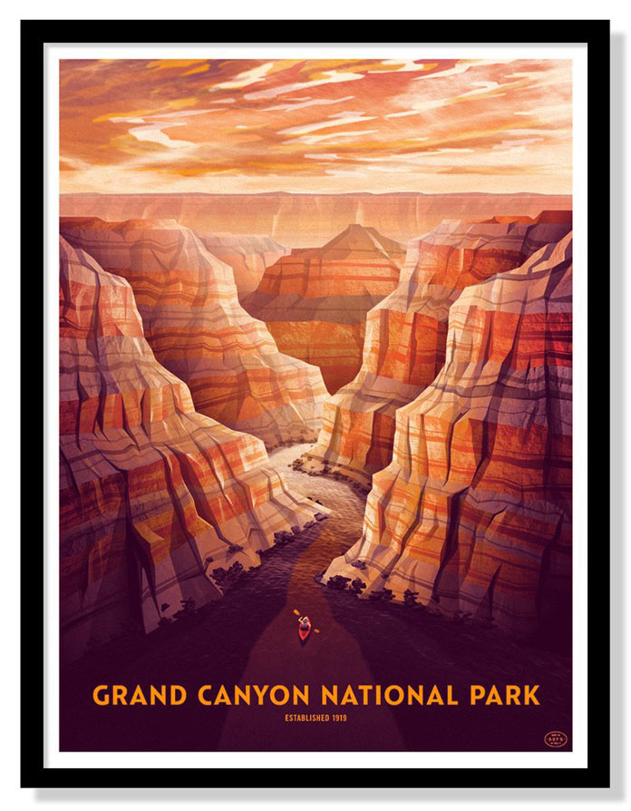 Grand Canyon National Park – Four color screen print by DKNG Studios from the 59 Parks Print Series.