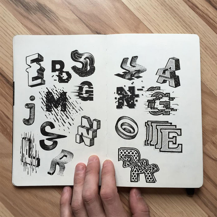 Typographic drawings.