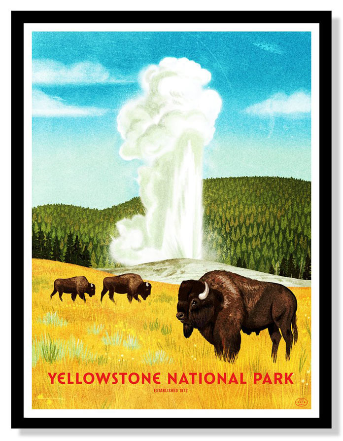 Yellowstone National Park – Four color screen print by Brave the Woods.