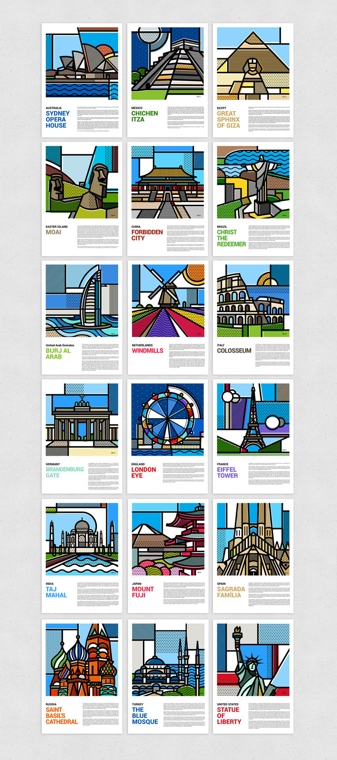 18 illustrations of landmarks around the world.